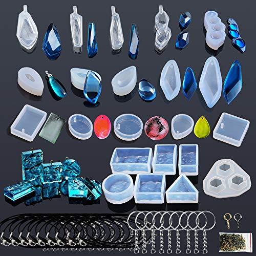 Woohome 43 PCS Silicone Moule pour Bijoux, Modèles Moule Resine et Outils Réglés avec des Epingles pour Boucle d'oreille Collier La Fabrication de Bijoux de Bricolage