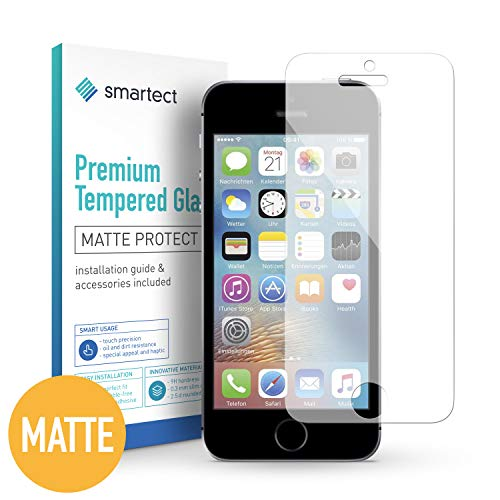 smartect Protector de Pantalla Mate para iPhone SE / 5 / 5s / 5c [Mate] - 9H Cristal Templado -...