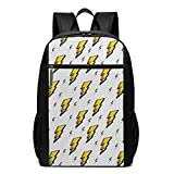 Retro Comic Book Effect Bolt Icons Laptop Backpack for Women Men,School College Backpack Travel Backpack Fits 17 inch Notebook (12' L X 6.5' W X 17' H in)