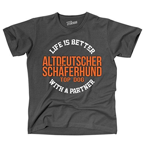 Siviwonder Unisex T-Shirt ALTDEUTSCHER SCHÄFERHUND - LIFE IS BETTER PARTNER Hunde dark grey L