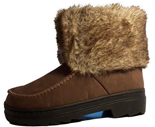 Bottes hiver très chaudes avec de la fourrure extérieure, chaussures femme doublées, modèle 11094104010008, beige, marron ou noir, différents modèles et tailles. Marron modèle D.
