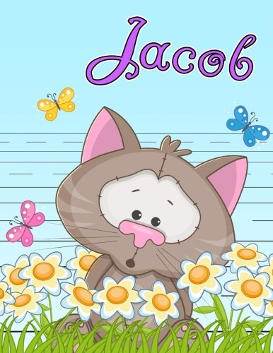 Jacob: Personalized Book with Child's Name, Primary Writing Tablet for Kids, 65 Sheets of Practice Paper, 1