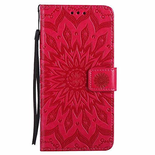 Custodia iPhone 7 Plus, Dfly Premium PU Goffratura Mandala Design Pelle Chiusura Magnetica Protettiva Portafoglio Custodia Super Sottile Flip Cover per iPhone 7 Plus 2016, Rosso Rosso