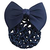 Homgaty Women Ladies Bowknot Bun Cover Net Hairnet Snood Decor Barrette Hair Clip (Dark Blue)