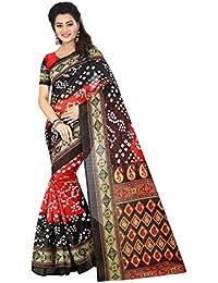 Market Magic World Women's Red Cotton Printed Bandhani Saree (sarees For Women Latest Design)