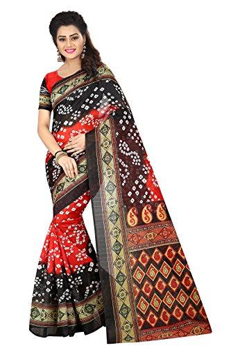 Market Magic World Women's Red Cotton Printed Bandhani Saree (sarees for women...