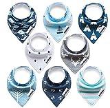 Baby Dreieckstuch Lätzchen 8er Pack Halstuch Spucktuch Lätzchen mit Druckknopf für Baby Jungen und Mädchen Kleinkinder Saugfähig Weich Größenverstellbar