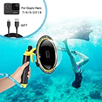 Für GoPro Dome Port Wasserdichtes Gehäuse GoPro Hero 7 6 5 2018 Schwarz Weiß Silber, GoPro Zubehör mit Abzugswaffe und schwebender Griff Unterwasser-Kuppel.