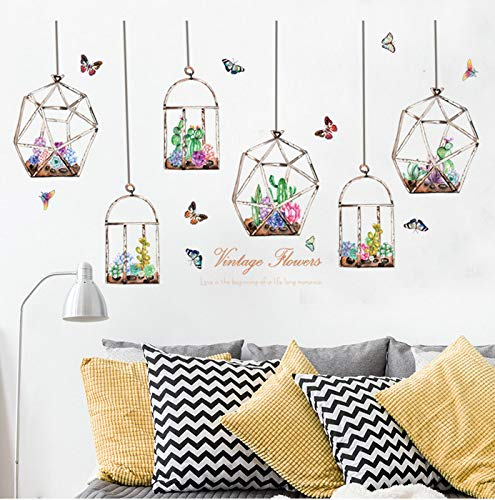 Yangll Bunte Blumen Kakteen Hängen In Der Glasflasche Wandaufkleber Schmetterling Aufkleber Für Wohnzimmer Schlafzimmer Kunst Aufkleber Wandbilder