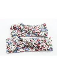 Bllomsem 1 paire de mamans et de bébés Imprimer bande de cheveux élastiques Bohemia style bandeau de coton 09