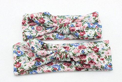 Bllomsem 1 paio Mamma e neonata stampato fascia elastica Boemia cotone fascia dei capelli 09