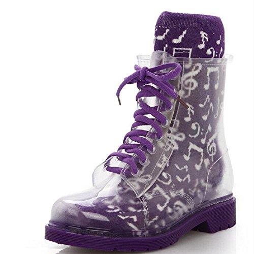 Frühling Martin Stiefel Mode Mädchen Anti-Rutsch Regen Stiefel Purple