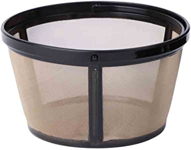 Tebatu Reusable 10-12 Cup Coffee Filter Basket-Style Permanent Metal Mesh Tool BPA Free Black+Gold 62mm//2.44