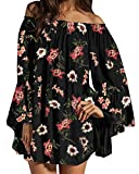 ZANZEA Damen Langarm Schulterfrei Kleid Chiffon Blumen Oversize Oberteil Mini Kleider 06-schwarz Large