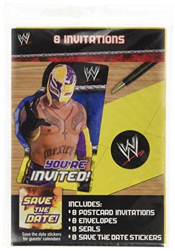 8 Invitations de fête WWE enveloppes inclus