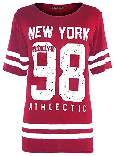 d240d4e63854 Neue Frauen RotÜbermaß Kurzarm Baggy Baseball T-Shirt Oberteile 98 Newyork  Red 48-50