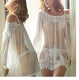 Amcool Dessous Sets Durchsichtige Kleidung Unterwäsche Nachtwäsche+G-string Spitzenkleid Sleepwear (Asiatisch Größe:M, Weiß)