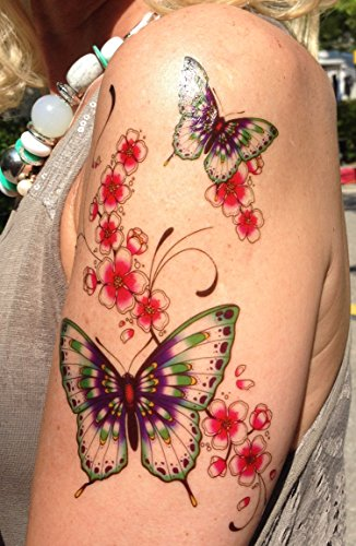 Bunte Farbige Tattoo Schmetterlinge Blumen Fake Tattoos B030 Schmuck
