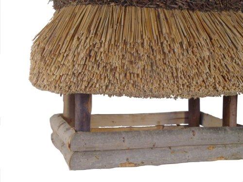 Vogelhaus mit Reetdach Futterhaus Futterstation – eckig – traditionell eingedeckt - 2
