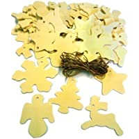 Set Of 50 Mixed Wooden Christmas Tree Decoration Shapes To Paint & Golden Cord by Major Brushes