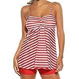 Cooljun Bademode Tankini Set Damen Ruched Badeanzug bauchweg Push up mit Bügel Oversize Strandbekleidung Swimwear Strandmode