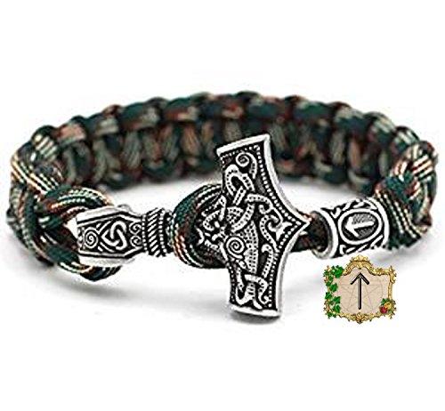 Tiwaz Rune Perle - Viking Wikinger Thor`s Hammer Thorhammer Armband - 100% Handarbeit Outdoor Buntes Grün Einzigartiges Paracord Antike Silber Armreif Raven Nordisch Keltisch Nr.41