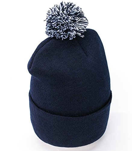 4sold Unisex Lady Skullies Bonnets Bonnet fourré hiver pour femme bonnet tricoté avec torsades et gros pompon en fourrure plusieurs coloris taille unique Navy blue