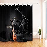 Konzert spielt Szene Gitarre Mikrofon Schlagzeug Duschvorhang für Badezimmer Polyestergewebe 180Breite x 200 Höhe