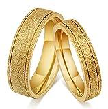 Damen-Ring Sandstrahl 18K Vergoldet Minimal Ehering Paarringe Gold AnaZoz Modeschmuck