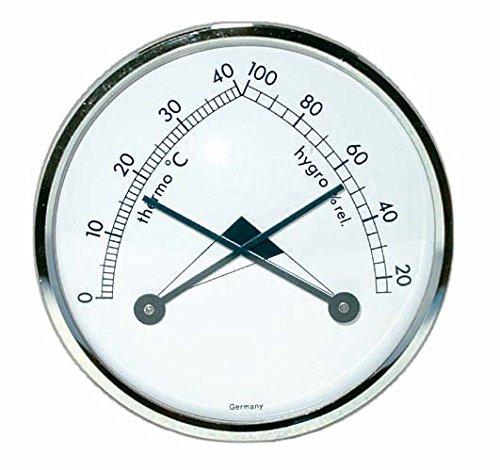 Dragon - Thermo- und Hygrometer analog weiß, rund Ø70mm mit Silberrin