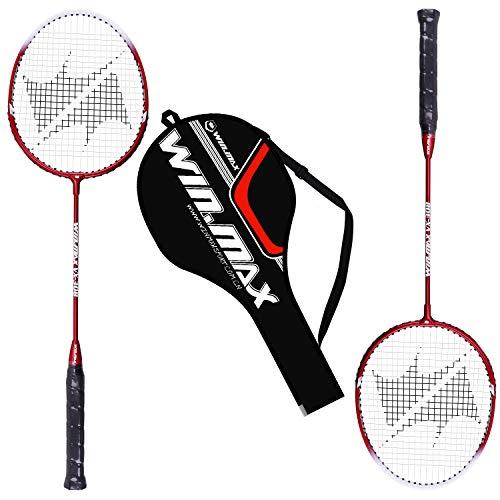 WIN.MAX Badmintonschläger Schläger Set 2 Aluminium Alloy 2 Player Inklusive Badminton Tasche - Schwarz (2 Rackets)