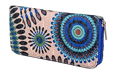 IWEA Damen Geldbörse in Psychedelic Ethno Blumen Print Portemonnaie mit Reißverschluss IW018, Blau