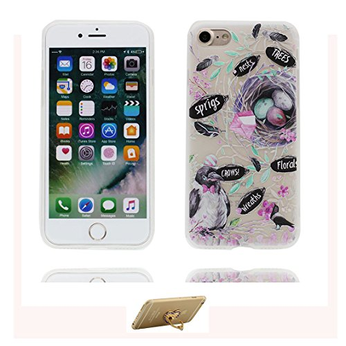 Custodia iPhone 7, ( Cartoon Crows Albero Nido ) Silicone trasparente Case iPhone 7 copertura Cover 4.7 e ring supporto Shell Graffi Resistenti Color - 7