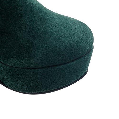 AllhqFashion Damen Reißverschluss Hoher Absatz Nubukleder Hoch-Spitze Stiefel mit Rivet Set Grün