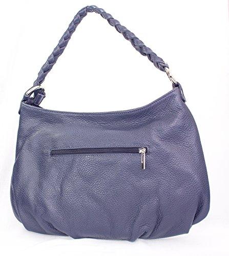 Echt Leder Schultertasche Damentasche Handtasche Ledertasche Umhängetasche (hellgrau) blau