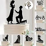 Generic 20 : 1pcs Romantic Mr & Mrs Cake Topper Wedding Party Decoration Bride & Groom Cake Accessories Decoration Supplies - Black