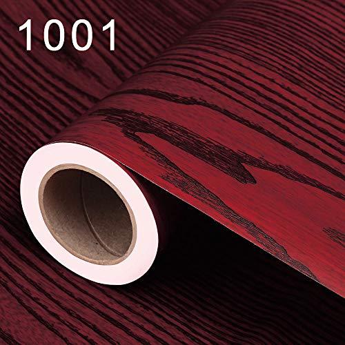 elbstklebende Tapete Holz Papier TV Hintergrundbild 1001 Mahagoni - Tisch und Schranktüren 60CM ()