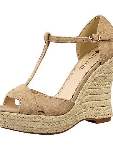 WSS 2016 Chaussures Femme-Habillé-Noir / Rose / Rouge / Gris / Kaki-Talon Compensé-Compensées / Bout Arrondi / Bout Ouvert-Talons-Daim pink-us6 / eu36 / uk4 / cn36