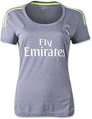 Femme 2016UEFA Champions League Real Madrid CF DIY Nom Away Football Soccer Jersey en gris petit gris - Gris