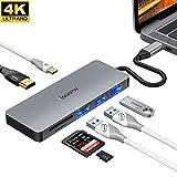 iMXPW SANTORA USB 3.1 Typ-C auf HDMI Multiport Adapter, 7 in 1 USB-C Hub mit 4K HDMI, USB-C 87W PD, USB 3.0 / 2.0, SD Kartenleser für MB mit Thunderbolt 3 Port, Samsung S8, Huawei P20 & mehr