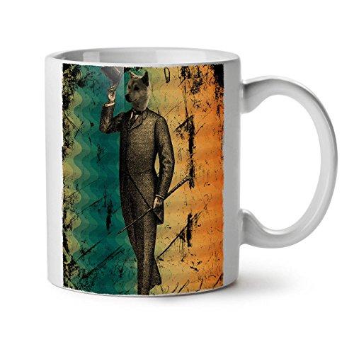 Wellcoda Wolf Retro Einzigartig Jahrgang Keramiktasse, Nobel - 11 oz Tasse - Großer, Easy-Grip-Griff, Zwei-seitiger Druck, Ideal für Kaffee- und Teetrinker (Geschirr Kostüme Wolf)