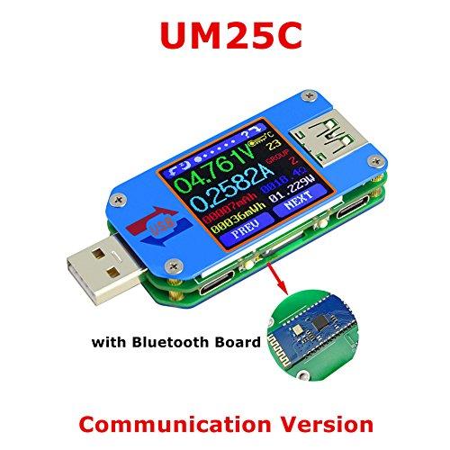UM25C/UM25 - Multímetro de voltímetro de batería con Bluetooth y voltímetro, pantalla LCD a color de 1,44 pulgadas, USB 2.0 tipo C, contador de impedancia de carga
