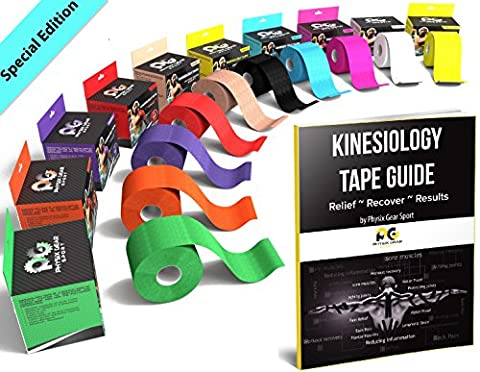 Kinesiology Tape (2 Pack or 1 Pack) Physix Gear Sport, 5cm x 5m Roll Uncut, Best Waterproof Muscle Support Adhesive, Physio Therapeutic Aid, Free 82pg E-Guide - BLUE 1 PACK