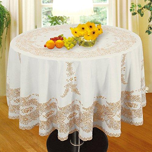 Preisvergleich Produktbild OUBO Cover Tablecloth Tischdecke Tischtuch Tafeltuch Spitze Garten Küche abwaschbar weiß gold rund durchmesser 182cm