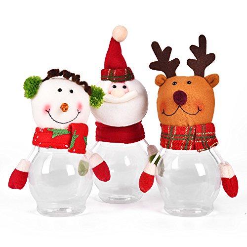 Kinder Weihnachtsgeschenke Weihnachtsmann Schneemann Elch 3 PC Weihnachten Süßigkeiten Dose Geschenk Weihnachten Dekoration (Haus Dekoration Halloween Beste)