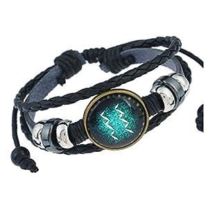 MeiPing Astrologisches Design 12 Constellation Leder Unisex Armband