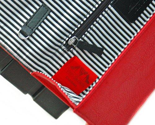 Vain Secrets© Abendtasche Strap Nieten Clutch mit Schulterriemen Rot