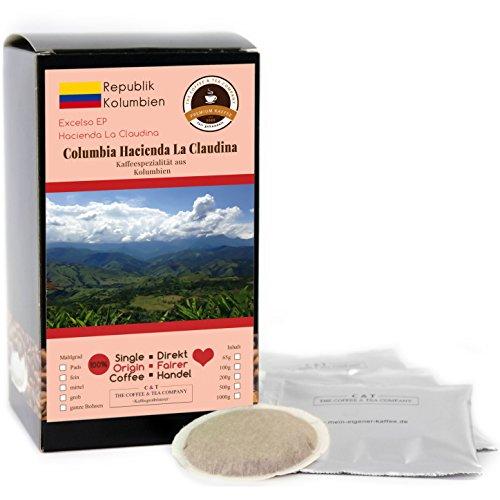 Kaffee Globetrotter - Kaffee Mit Herz - Colombia Hacienda La Claudina - 15 Premium Kaffeepads - für...