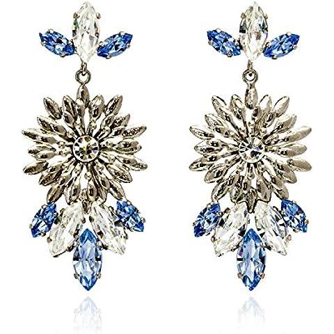 Rosaspina Firenze, orecchini fiore stampato e cristalli Swarovski Elements - Multi Orecchini A Cristallo Di Colore