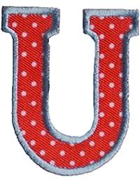 U maiuscolo 5cm rojo blanco Arte Arreglar Apliques Algodón Accesorio para reparar placa pañuelo bandera bolsillo